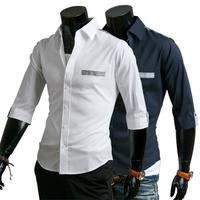 Free shipping 2014 new style Men's Fashion casual half-Sleeved Shirts high quality Summar Slim Shirts 9071