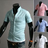 Free Shipping 2014 Mens Slim fit stylish Dress Half-Sleeve Shirts Mens dress shirts 9075