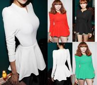 Dropshipping New 2014 Spring Shaped Slim Sexy Cute Peplum Women  Blouse V-Neck Long Sleeve Reffles Cotton Tops Shirt S-XL