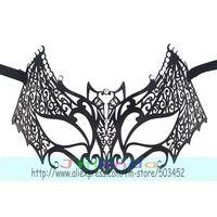 50pcs/lot MJP-017B Factory Price Bat Design Hollow Out Mask Fashion Carnival Halloween Crystal Mask Princess Masquerade Mask