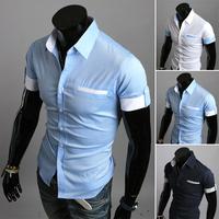Free Shipping 2014 summer New Fashion Casual slim fit short-sleeved men's dress shirts Korean Leisure styles  shirt M-XXL 9076