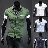 2014 New Summer Mens Luxury shirts Fashion Casual Slim Fit Stylish cotton short Sleeve dress shirts 9081