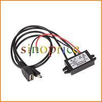 Waterproof DC 12V to 5V 3A USB+mini USB Car Power Regulator Step Down for phone MP5 GPS (Black) Free Shipping 130010