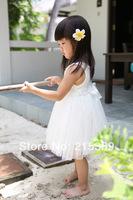 2014 summer girls gauze veil of white roses princess dress free shipping