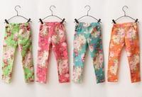 Cotton Leggings For Girl Fashion Children Print Colorful Denim Trousers Girls Printing Flower Pants 2014 Summer 2-7 Years