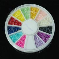 B39Hot Sell Nail Art Pearl Rhinestones Glitter Acrylic Tips Decoration Manicure Wheel 12 C Free Shipping