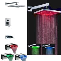LED Temperature Sensor Copper Bathroom Shower Faucet Waterfall Bath Mixer Shower Set Shower Hotels Torneira Chuveiro led Ducha