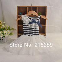 2014 summer  side stripe lace collar dress vest dress children dress Tong Tong Fagong main harness dress