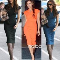 New 2014 Fashion Summer Celebrity Women V-Neck Knee Length Bandage Pencil Dress Back Zipper Work Wear Slim Bodycon Casual Dress