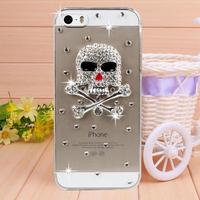 New Arrival Handmade Diamond Skull Rhinestone Case Cover for iPhone 4 4s case for iPhone 5 5s case Mobile Border Protection