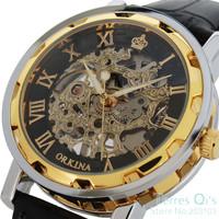 2015 New Orkina Gold Black Roman Skeleton Hand-wind Mechanical Black Leather Wrist Mens Watch Free Ship