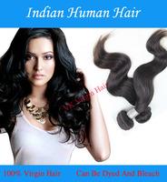 Indian Virgin Hair Extensions Natural Color Black 1B# Body Wave Unprocessed 100% Human Hair Weaves Queen Virgin Hair 1PCS/Lot