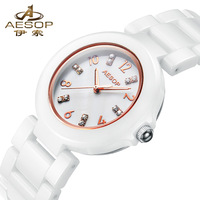 Free shipping,2014 Brand Ceramic watch waterproof quartz women dress luxury watches AESOP brand 9924