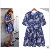 2014 summer new large size Korean women short-sleeved chiffon floral dress summer dress
