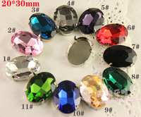 11colors 60pcs/lot 20*30mm Pear Oval Crystal Fancy Stone with Claw Setting Sew On Rhinestones,U CHOOSE COLOR