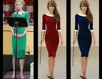 Spring 2014 New Fashion Vintage Elegant Women Casual Bodycon Bandage Dress Knee Length Stretch Pin Up Rockabilly Pencil Dress
