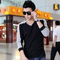 Men Real Sale Tshirt Jeanswest 2014 Spring Men's Clothing Long-sleeve T-shirt Male 100% Cotton Slim V-neck Clothes Basic Shirt