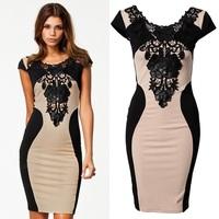 New Fashion Hit Color Women Embroidery Patchwork Bodycon Dress Casual Dress M L XL Plus Size 812