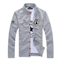 Men Tshirt Spring men's clothing outerwear thin stand collar red buckle cardigan male casual sports sweatshirt male