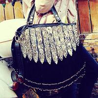 leopard print decoration peacock tassel bag rivets bag handbag shoulder bag messenger baggenuine leather handbags female bags