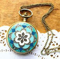Free shipping wholesale dropship 2013 hot sale flower diamond shinning fashion quartz fob watch Blue