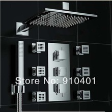 wholesale and retail Promotion Chrome Thermostatic Rain Shower Faucet Set 6 Massage Jets Sprayer Hand Shower(China (Mainland))