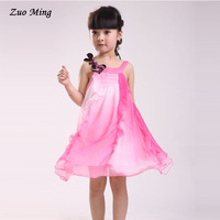 Retail free shipping 2014 spring autumn  female child summer Flower Frill chiffon one-piece dress Size:4T - 12