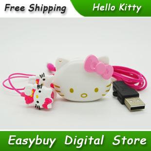 100% Brand New Mini Fashion Hello Kitty Shaped Card Reader MP3 Music Players With Hello Kitty Earphone&Mini USB(China (Mainland))