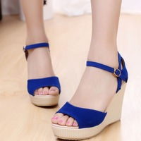 2013 strap open toe wedges high-heeled shoes casual all-match navy blue sandals female shoes