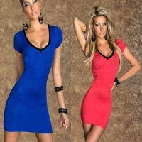 Women's Clothing Dresses sleeved summer package hip dress, deep v halter cross-tie dress free shipping! ! C-1130