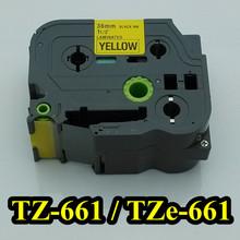 11/2'x23′ black on yellow tape 36mm TZ661 TZ-661 TZe661 Compatible brother P-touch TZ Tze label tape ribbon cassette