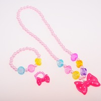 20 Sets Wholesales Lovely Girls Necklace Bracelet Jewelry Set Children's Elastic Plastic  Costume Accessories Clear Out Price