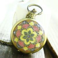 Free shipping wholesale dropship 2013 hot sale flower diamond shinning fashion quartz fob watch Pink