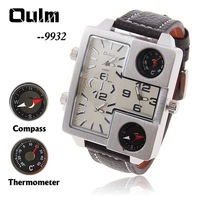 Oulm Adventure Multi-Function 3-Movt Black Leather Watch for Men with White Square Shaped