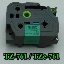 11/2″ 36mm laminated tz tape tz761 black on green tz-761 tze 761 label tape for p touch