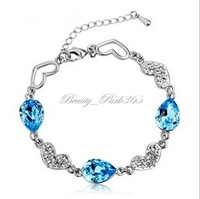 Fashion Womens Crystal Silver Plated Bracelet Heart and Water Drop Bracelet Factory Wholesale A-0005