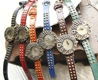 Free shipping wholesale dropship 2013  hot sale russia big number cow leather watches for women