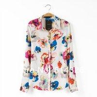 2014 New Spring Fashion Ladies' Chiffon Blouses Print Floral Long Sleeve Shirt Women Elegant Casual Blouse