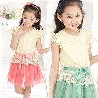 4-14Y New 2014 Spring Princess Lassie Girls Clothes Casual Lace Short Sleeve Baby Dress Children Outerwear Tutu Girl Clothing