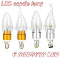 2014 chandelier bulbs E14 E27 86-265V Led Candle bulb led lamps Energy-saving lamps led lighting 6W 6*1W 5630 SMD leds DHL FREE