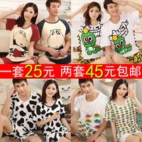 Lovers sleepwear summer short-sleeve male women's cartoon sleepwear beach lovers set casual cotton 100%