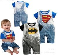 Cartoon Cotton Superman Baby Rompers Summer Short Sleeve Batman Kids Romper Baby Clothing