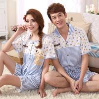 Summer 100% cotton lovers sleepwear fashion cartoon male women's short-sleeve sleepwear casual lounge