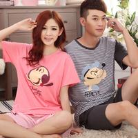 Lovers sleepwear summer short-sleeve cartoon male women's sleepwear 100% cotton loose casual lovers lounge