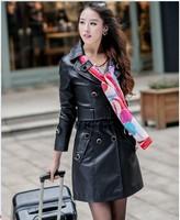 Hot !! 2014 fashion women genuine leather Slim Fit jacket wind coat women motorcycle genuine leather big size jacket coat L-3XL