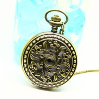 Free shipping wholesale dropship 2013 hot sale bronze vintage big round face orchid fashion quartz pocket watch