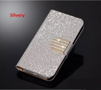 Shining PU Leather  Mobile Phone Case Cover Holder for LG e610 With 1 card holder  And Stand Design Diamond Hasp Free Shipping