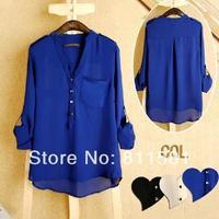 new 2013 women spring summer V-neck chiffon elegant all-match solid botton casual spirals shirt blouse white blue black s m l xl
