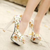 2014 fashion thick heel crystal round toe floral print cloth ultra high heels platform shoes