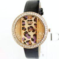 Leopard Watches Leather Clock Women Fashion Charm Rhinestone Wholesale Dropship Free Shipping PU